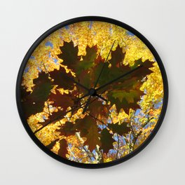 Autumn Decor Leaves Oak Maple Trees Wall Clock