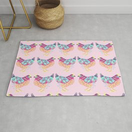 Pretty Pink Colorful Chickens Rug