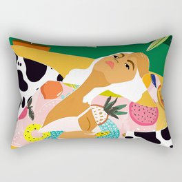 Moon Lover, Bold Quirky Fashion Illustration, Eclectic Decor Modern Bohemian Plant Lady Rectangular Pillow