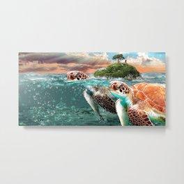 Turtles of the Sea Metal Print