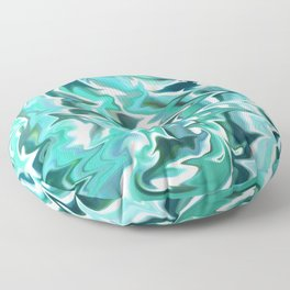 Liquid Marble // Aqua, Turquoise Blue, Mint Green, Teal, White Floor Pillow