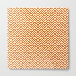 Neon Orange Chevrons Metal Print