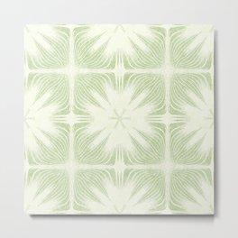 Nappy Faux Velvet Exotic Flower Petal in Lime Green Large Metal Print