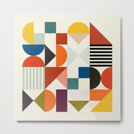 mid century retro shapes geometric Metal Print