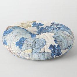 Fuji no Yukei by Utagawa Kuniyoshi (1798-1861) translated An Evening View of Fuji a traditional Japanese ukiyo-e style  of the stream of Asazawa in spring with view of Mount Fuji from the hot springs at Hakone Floor Pillow