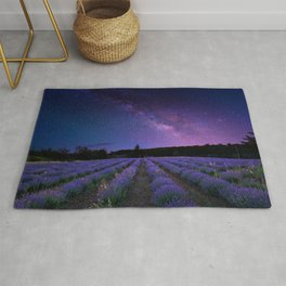 Milky Way over Lavender Fields Photographic Landscape Rug