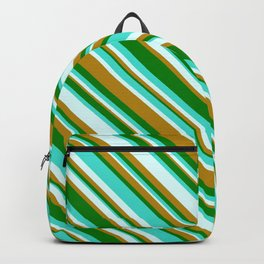 Turquoise, Light Cyan, Dark Goldenrod, and Green Colored Stripes/Lines Pattern Backpack
