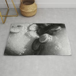 Still life, Octopus limbs, Black & white, macro photo, kitchen decor, sea life, fish restaurant Rug