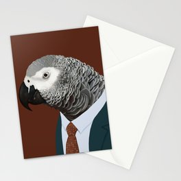 African Grey Parrot In Suit  Stationery Cards