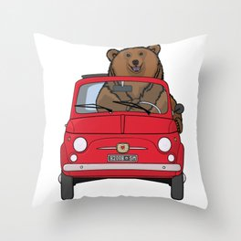 A bear driving a red vintage car Throw Pillow