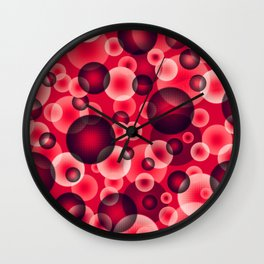 psychedelic red spheres floating in the space digital graphic design Wall Clock