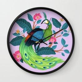 Java Peafowl Wall Clock