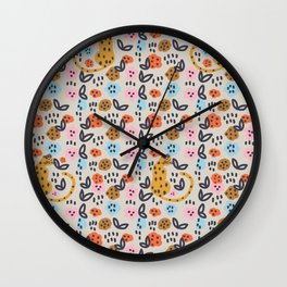 Flowers and cats pattern Wall Clock