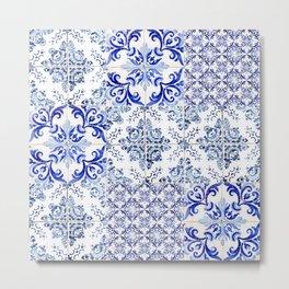 Azulejo VIII - Portuguese hand painted tiles Metal Print