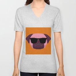 Orange Purple Cute Boss Pug Puppy Lover  Unisex V-Neck