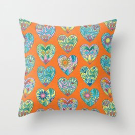 Boho Love (Orange) Throw Pillow