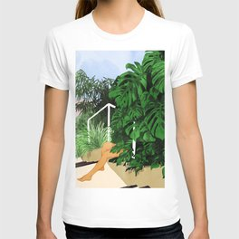 Hiding in Green Painting, Tropical Nature Monstera Illustration, Woman In Jungle Painting T-shirt