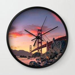 Sunset over the San Francisco Bridge (Color) Wall Clock
