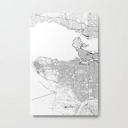 Vancouver White Map Metal Print