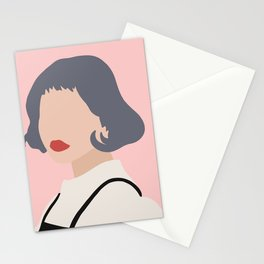 Woman with Black Overalls Stationery Cards