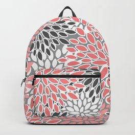 Festive, Floral Prints, Coral, Gray and White Backpack