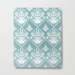Neptune's joy mint damask wallpaper Metal Print