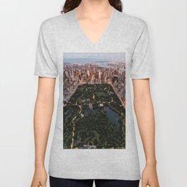 Central Park, New York - Twilight Unisex V-Neck