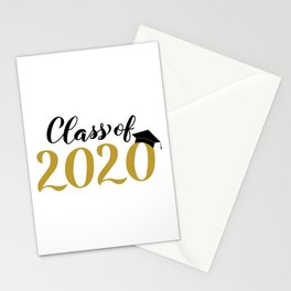 Class of 2020 lettering with graduation hat. Congratulations to graduates.  Stationery Cards