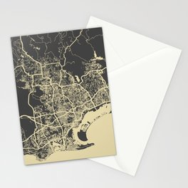 San Diego Map yellow Stationery Cards