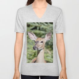 Watercolor Deer, Eastern Whitetail 03, Cape Breton, Canada, Who Me? Unisex V-Neck