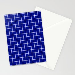 Phthalo blue - blue color -  White Lines Grid Pattern Stationery Cards