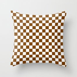 Small Checkered - White and Chocolate Brown Throw Pillow