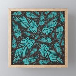 Leaves V1 AQUAMARINE Framed Mini Art Print