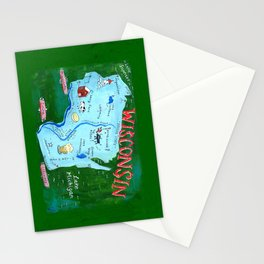 WISCONSIN map Stationery Cards