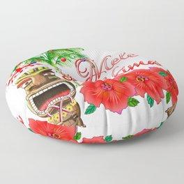 Santa Tiki Mele Kalikimaka Floor Pillow