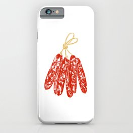 Illustration of hanging Chinese sausage iPhone Case