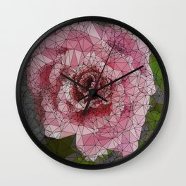 Pink Rose, Low Poly, Triangulated Wall Clock