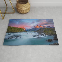 Torres del Paine National Park evening Andes mountain landscape mountain river Patagonia Magallanes Region Chile Rug