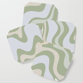 Liquid Swirl Contemporary Abstract Pattern in Light Sage Green Coaster