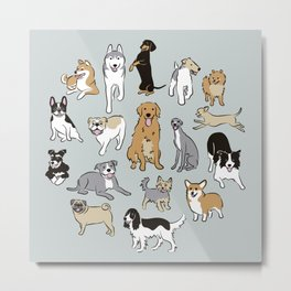 Happy dogs Blue Grey Metal Print