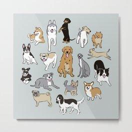 Happy dogs Blue Grey Metal Print