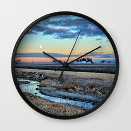 Moonset Over Iowa Wall Clock