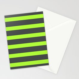 Green Stripes on Gray Background Stationery Cards