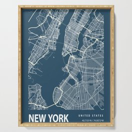 Map of New York Serving Tray