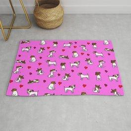 Cute Jack Russell Terrier Cartoon Pink Background Rug
