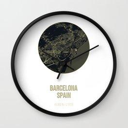 Barcelona Spain Map Wall Clock