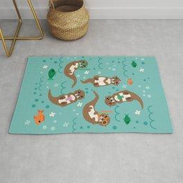 Kawaii Otters Playing Underwater Rug
