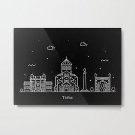 Tbilisi Minimal Nightscape / Skyline Drawing Metal Print