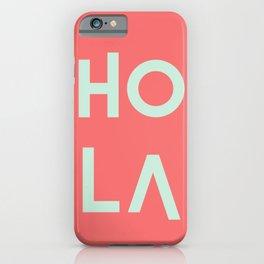 HolA living coral pantone & mint iPhone Case