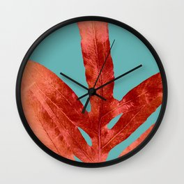 Red Fern on Teal Wall Clock